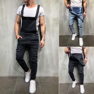 Moda yeni beyefendi erkek kemeri pantolon Herren sıkıntılı denim marangoz tulum