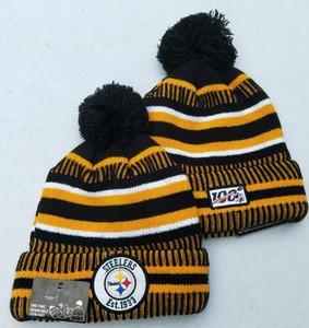 Полосатый боковой линии Pittsburgh Sport Манжеты вязаная шапка 100-летие сезона капот теплый дешевый шапка вязаная шапка черепа для мужчин, женщин 00