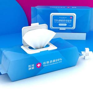 80Sheets Desinfetante álcool toalhetes anti-sépticos 75% de álcool Pad portáteis Wipes descartáveis para a pele mão limpa algodão molhado