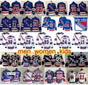 Nova Iorque Rangers Jerseys Hóquei Mika Zibanejad Kaapo Kakko Henrik Lundqvista Mark Messier Chris Kreider Wayne Gretzky Brady Skjei Kevin Hayes
