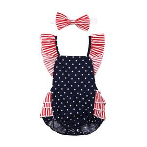 Vestiti della tuta della tuta del pagliaccetto delle neonate del neonato di 4 luglio