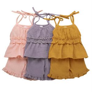 2 Piece enfant en bas âge Bébés filles coton lin Shorts Set Bracelet Débardeur + Bubble Shorts Ruffle Tenues d'été