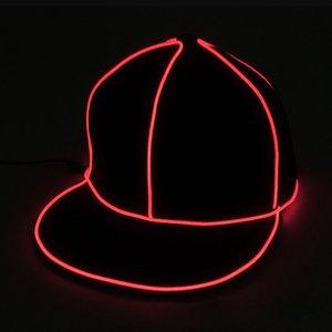 Arrefecer EL Luminous Cap Homens Hip Hop Snapback Hat Mulheres fio incandescente em Supplies Dark Light Chapéu do Dia das Bruxas