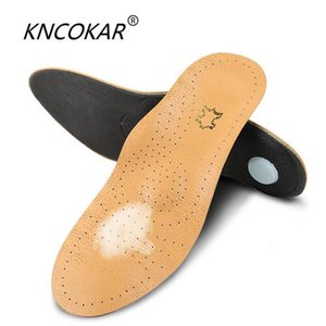 KNCOKAR 1 pair High quality Leather orthotics Insole for Flat Foot Arch Support orthopedic Silicone Insoles for men and women