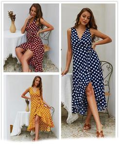 2019 robes de créateurs de mode robes de plage d'été pois imprimées Deep V Neck Sexy Slim Strings sans manches Chine fabricant de vêtements pour femmes