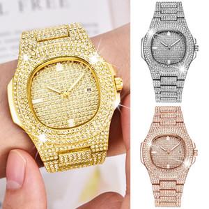 Topgrillz Marca Iced Out Reloj Cuarzo Hip Hop Relojes de pulsera de oro con Micropave Cz Reloj de pulsera de acero inoxidable Horas J190507
