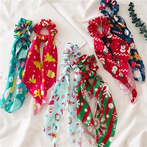 INS Noël Floral cheveux Chouchous Bow femmes Accessoires Bandeaux Ties Scrunchie caoutchouc corde Porte-queue de cheval Big Bow long