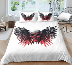 Thumbedding Adult Use Bedding Set Skull Printed Duvet Cover Soft Home Textiles Skull Printed Bedclothes with Pillowcases