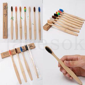 Bamboo brosse à dents pour adultes bois brosse à dents en bois Bamboo Soft Soft Brones Naturel Capitellum Bamboo Fibre Bois Poignée en bois DC692