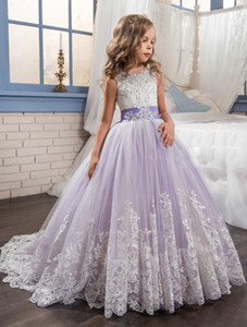 2019 New Purple and White Flower Girls Dresses Beaded Lace Appliqued Bows Pageant Gowns for Kids Wedding Party