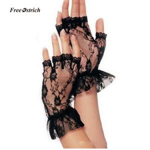 Guantes suaves de avestruz gratis Guantes cortos sin dedos de encaje negro para mujer Net Goth Gothic Fancy Dress Medias Weddingg medias 2019