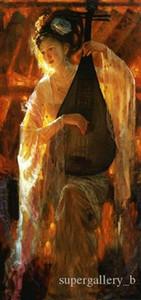 Dunhuang cinese volo corte ballerino giocando Pipa Dream Art ritratto di alta qualità a mano pittura a olio su tela multi dimensioni / telaio p124