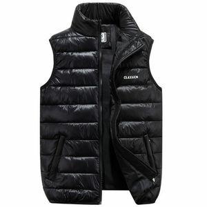 Новая зимняя теплая мужская пуховая хлопчатобумажная куртка без рукавов жилет жилет куртка мужчины застегивают жилет L-3XL