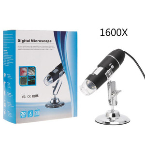 Fotocamera USB 500X 1000X 1600X 8 LED Digital Microscope Microscopio Magnifier elettronico stereo USB endoscopio con supporto in metallo