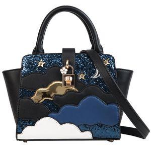 2018 New Fashion handbag High quality PU leather Women Tote bag Sweet lady Sequins Portable bag Cloud Shoulder Messenger bags
