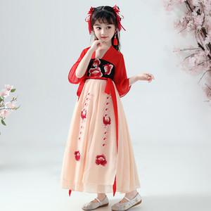 Mädchen Hanfu Kleid Chinese Traditional alte Kinder Kleidung Han / Tang / Song-Dynastie Fee Hanfu Volkstanz-Kostüm