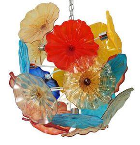 Colorato a mano in vetro soffiato di Murano Glass Chandelier Pendant Light Art LED Flower Chandelier di soggiorno sala da pranzo Scala