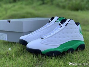 Hottest 2020 Authentic Air 13 Lucky Green Man Basketball Shoes White Black 3M Reflective Real Carbon Fiber Sneakers With Original Box