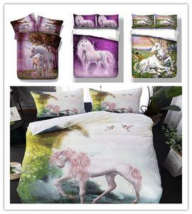 Ensemble de literie série Unicorn Set Ensemble de literie vert violet 3D / 2pcs avec taie d'oreiller lit couvre-lit simple Double King Size couvre-lits