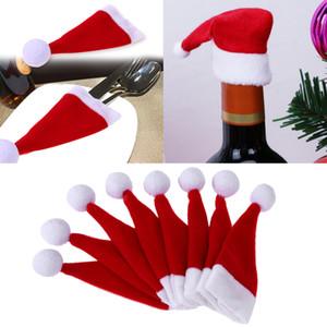 8шт / Lot Mini Christmas Caps Cutlery держатель Карманы Рождество стол украшения Вилка нож Обложка Установить Поставки Санта Hat