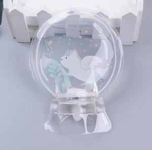 Mini mano redonda PVC transparente Botella de agua caliente Pequeño relleno Agua Bolsos calientes Bolsa de agua caliente de unicornio