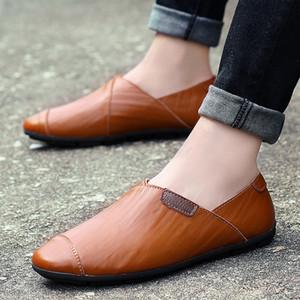 mens del cuero genuino de los holgazanes de moda hecha a mano mocasines de cuero suave deslizamiento azul en el zapato PLUS TAMAÑO 37 ~ 47 del envío libre de los hombres del Barco