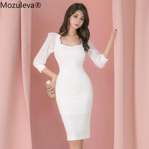 Mozuleva Büro-Damen Mantel-Kleid-Hülsen-Female festes Kleid Bleistift Frauen Vestidos 2020 Herbst New