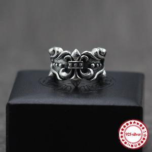 s925 sterling silver men's ring jewelry vintage personality unique heavy anchor punk style couple open ring send lover's gift