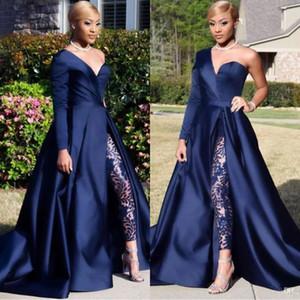 Elegante One Shoulder Langarm Abendkleider Hose Anzüge A Line Dark Navy Split Prom Party Kleider Overall Celebrity Kleider BC0282