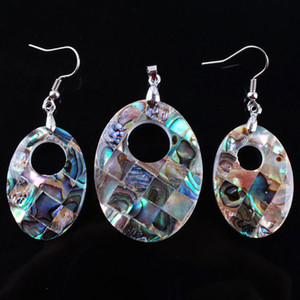 WOJIAER Natural Abalone Shell Jewelry Set Oval Colorful Paua Shells Pendant Dangle Earrings Women Beach Jewellery DBQ300