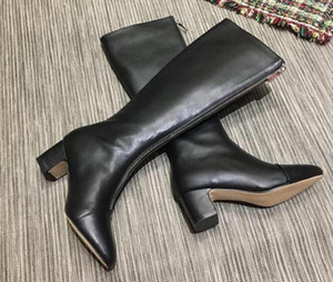 Fashion Brand Womens Ankle And Knee Boots Martin Square High Heel 5CM Pointed Toes Mid Zip Cow Leather Booties SZ35-40