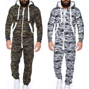 MJARTORIA 2019 Homens de uma peça de vestuário Pajama Playsuit Zipper Hoodie masculino Onesie Camuflagem Imprimir Jumpsuit Streetwear Macacões