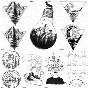 Birnen-Glass Mountain Pine Tree Temporary Tattoos Aufkleber Dreieck Welle Custom Tattoo Body Art Arm Schwarz Small Gefälschte Tatoos