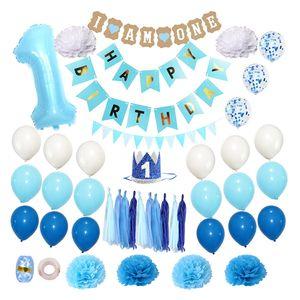 Baby Birthday Party Aluminum Film Balloon Set Baby 1st Birthday Party Decorations, 1 Year Hat, Happy Birthday Banner, Balloon, Paper Decor