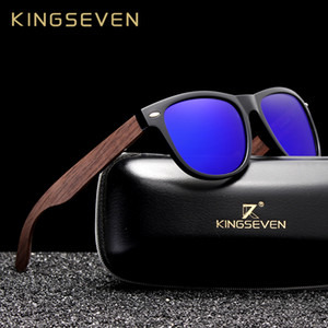 KINGSEVEN Handmade Black Walnut óculos de sol dos homens de madeira Eyewear Mulheres polarizada Espelho quadrado Vintage Design Oculos de sol CX200707