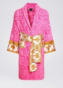 Méduse signe jacquard baroque logo luxe peignoir rose imprimé design peignoir 100% coton ensemble serviette de plage du même design