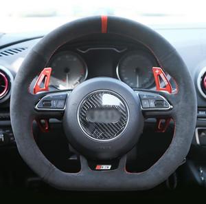 غطاء عجلة قيادة السيارة جلد أسود عالي الجودة لأودي A5 A7 RS 5 RS 7 S3 S4 2013-2016 S5 2013-2017 S6 2013 S7 SQ5