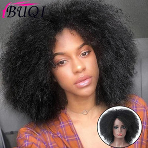 BUQI Natural Afro High Temperature Hair Short Black Synthetic Wigs Kinky straight Wig for Women
