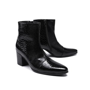 italy man snake skin patent leather black botas hombre ankle military boots punk shoes boots men motorcycle