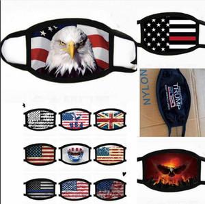 ABD STOK, Tasarımcı,% 100 Pamuk Yıkanabilir Tekrar Kullanılabilir Kumaş Ağız Maskeleri FY9120 Pamuk Bayrak Trump Yüz Bisiklet Kamp Travel Maskesi