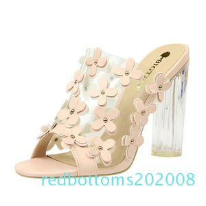 2020 PVC Women Slippers Fashion Sexy High Heeled 9.5CM Women Sandals Clear Heels Open Toe Mules Transparent Female Party Shoes r08
