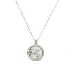 Оптово-серебро с плавающей Locket ожерелье припадки Пандоры европейских повезло символ открытой серебряные ожерелья