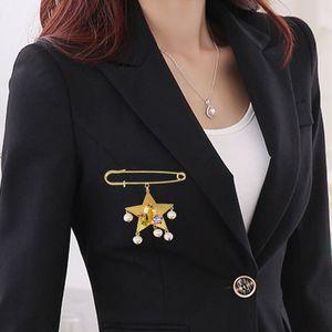 Baroque Retro Fashion Shining Five-pointed Star Brooch Rhinestone Wedding Shirt Collar Brooches For Female Women