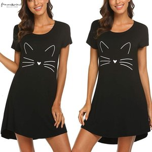 Ladies Casual Short Sleeved Cartoon Cat Print Comfortable Straight Dress Summer Number Is Cotton Round Neck Home Dresses Bl2
