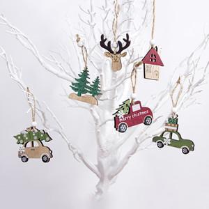 2 stili del fumetto di legno Pendenti Xmas Tree Elk auto decorativi appesi ornamenti di Natale di feste 3pcs 3 2xB E1