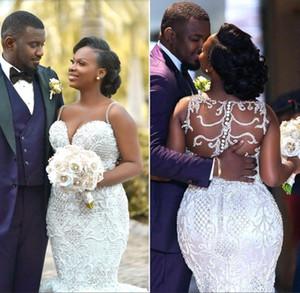 2019 Luxury Crystals Black Girl Mermaid Brautkleider Sexy Neueste Spaghetti Sheer zurück plus Größen-Brautkleid nach Maß BC2025