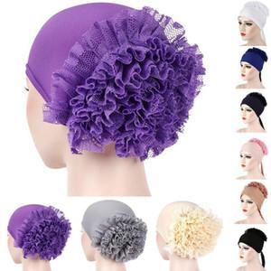 2019 Perda de New Muslim Women Flower Hat Lady Meninas Hijab Cabelo lenço Turban envoltório Acessórios Sólidos