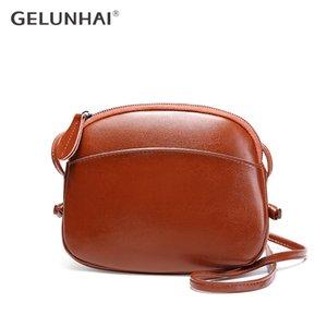 GELUNHAI manera de las mujeres Crossbody del monedero 100% cuero auténtico bolso de hombro elegante de Brown Bag simples Mini Shell Bolsas de Messenger