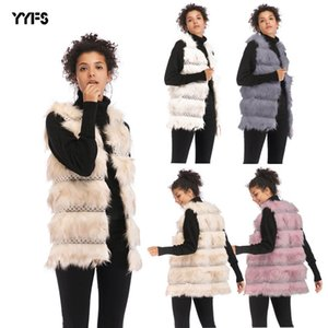 Winter New European and American Womens Layered Plush Faux Fur Vest Warm Loose Coat Women