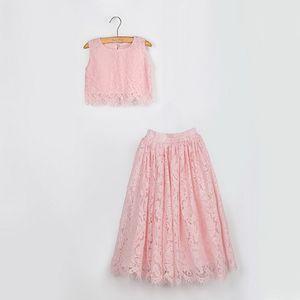 2020 Primavera-Verão Set Vestuário para meninas meia luva Lace Top + champagne rosa saia longa crianças roupas 2-11T E17121 CJ191224